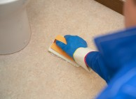 床を洗浄&ワックス